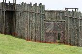 picture of stockade  - stockade wall and gate at andersonville national historic park in georgia - JPG