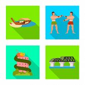Vector Illustration Of Journey And Exotic Symbol. Collection Of Journey And National Vector Icon For poster