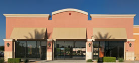 picture of department store  - A brand new blank generic store front in a contemporary strip mall - JPG
