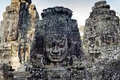 Angkor Bayon temple giant faces sculptures, Cambodia