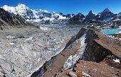 foto of cho-cho  - view from Cho Oyu base camp to ngozubma and gyazumba glacier  - JPG