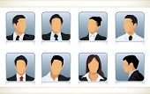 Template illustration of eight faceless or featureless head and shoulder portraits for male and fema