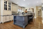 Upscale kitchen with a gray cabinet granite island