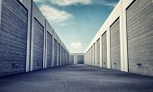 picture of self-storage  - many unit storage with metal  rolls up - JPG