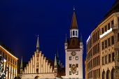 Marienplatz In The Evening, Munich, Bavaria, Germany