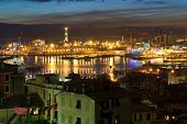 pic of genova  - overview of thev ancient port in genova at evening Liguria Italy - JPG