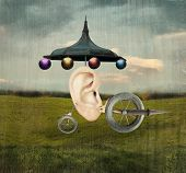 stock photo of surreal  - Beautiful artistic image that represent a human ear with surreal wheels and mechanic object in a surreal background - JPG