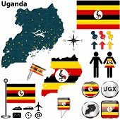 picture of shilling  - Illustration of Uganda set with detailed country shape with region borders flags and icons - JPG