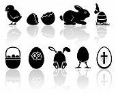 image of baby chick  - Set of black Easter icons on white background - JPG