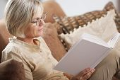 stock photo of time study  - Pretty mature woman passing her time by reading a book - JPG