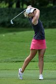 KUALA LUMPUR - OCTOBER 13: Jodi Ewart Shadoff of England hits the ball to the 9th hole green of the