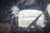 picture of junk-yard  - Abstract Cracked Window Glass on Antique Truck with Selective Focus - JPG