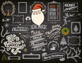 Christmas Design Elements on Chalkboard - Doodle Christmas symbols, icons, greetings and frames on b