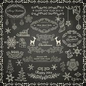 Set of vintage Christmas elements on black chalkboard