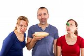 stock photo of stinky  - Man Is Holding A Stinky Cheese in front of white - JPG