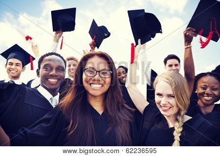 Group of Diverse International Graduating Students Celebrating poster