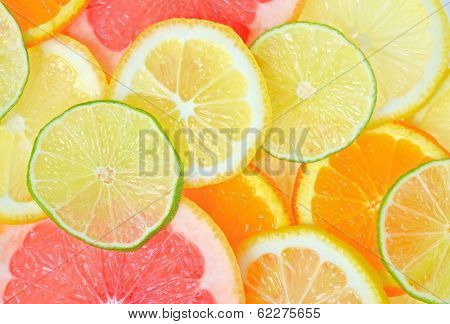 fresh Sliced citrus fruits background poster