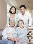 picture of mother law  - home portrait of a happy asian family - JPG