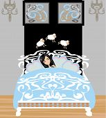 picture of counting sheep  - girl counting sheep to fall asleep  - JPG