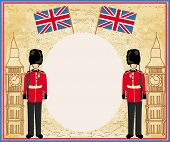 stock photo of beefeater  - Abstract frame with a flagBeefeater soldier and Big Ben  - JPG
