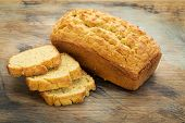 image of home-made bread  - slices and loaf of freshly baked - JPG