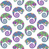 Seamless pattern with decorative ethnic style chameleon