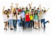 stock photo of disabled person  - Large Group of World People Celebrating - JPG