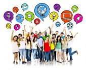 stock photo of eastern culture  - Group of Aspiring Students with Speech Bubbles - JPG