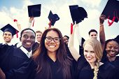 stock photo of graduation hat  - Group of Diverse International Graduating Students Celebrating - JPG