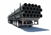 picture of truck-cabin  - Truck transporting pipe - JPG