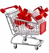 image of movable  - Shopping basket cart with gift boxes  - JPG