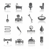 image of plumbing  - Plumbing tools pictograms set of shower bathroom toilet and water tube isolated vector illustration - JPG