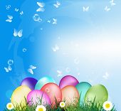 pic of duck egg blue  - Easter Eggs on the green grass - JPG