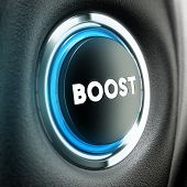 pic of stimulation  - Booster button over black textured background - JPG