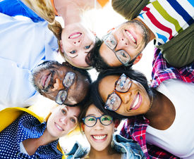 picture of professor  - Group of Diverse Colorful Friends With Their Heads Together - JPG