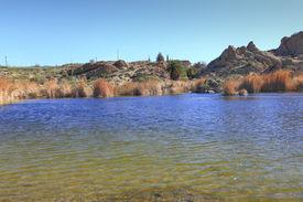 image of magma  - Ayer lake and Magma ridge in Boyce Thompson Arboretum State Park near city of Superior - JPG