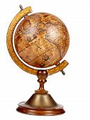 image of longitude  - An old brown vintage globe on a small stand over a white background - JPG