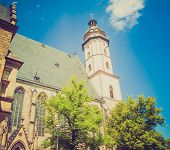 stock photo of leipzig  - Thomaskirche St Thomas Church in Leipzig Germany where Johann Sebastian Bach worked as a Kapellmeister and the current location of his remains