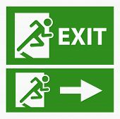 stock photo of emergency light  - Green exit emergency sign on white vector - JPG