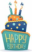 image of three tier  - Happy birthday cake with candles and colorful frosting - JPG