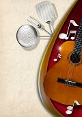 stock photo of bluegrass  - Background with red velvet yellow and white stained paper acoustic guitar musical notes and kitchen utensils - JPG