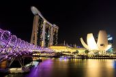 stock photo of singapore night  - Singapore marina bay financial district night time - JPG