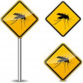 foto of mosquito  - illustration of mosquito yellow signs on white background - JPG