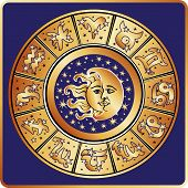 pic of moon stars  - The Horoscope circle with  Zodiac signs  - JPG