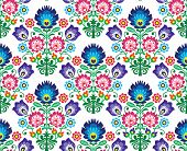Постер, плакат: Seamless Polish Slavic folk art floral pattern wzory lowickie wycinanka