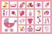 Постер, плакат: Newborn Baby girl icons set Baby shower