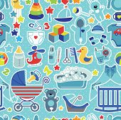 Постер, плакат: Newborn Baby boy seamless pattern with Polka dot