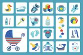 Постер, плакат: Newborn Baby boy icons set Baby shower