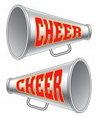 stock photo of cheerleader  - Illustration of two versions of a megaphone used by cheerleaders with the word cheer on them - JPG