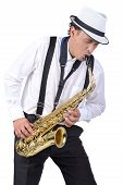 picture of saxophone player  - Saxophone player in white shirt - JPG